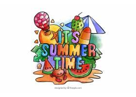 五颜六色的水彩画夏日背景_2221618