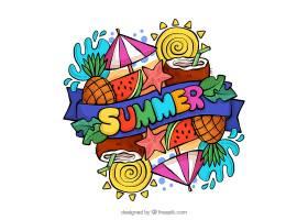 五颜六色的水彩画夏日背景_2221622