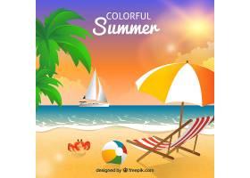 五颜六色的夏日背景与海滩_2240811
