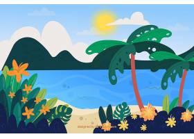 五颜六色的夏日背景与热带海滩_2224735