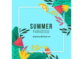 五颜六色的夏日背景与相框_2240820