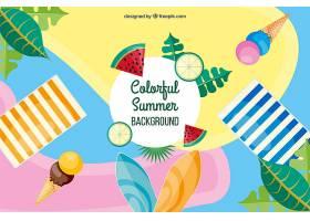 五颜六色的夏日背景平面设计_2297876