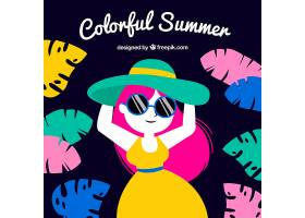 五颜六色的夏日背景有女人和树叶_2232724