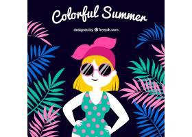 五颜六色的夏日背景有女人和树叶_2232725