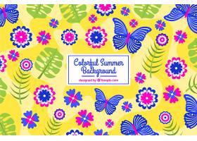 五颜六色的夏日背景有蝴蝶和鲜花_2240812