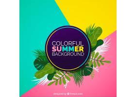 五颜六色的夏日背景热带树叶_2235561