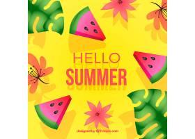 五颜六色的夏日背景配上西瓜_2240822