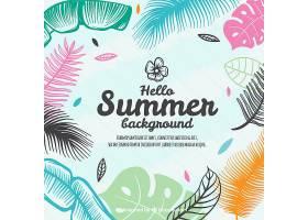 五颜六色的夏花背景手绘风格_2141755