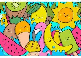 五颜六色的手绘夏日背景_2224731