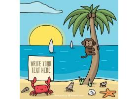 以可爱的猴子和螃蟹为背景的夏季海滩_1105924