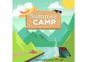 以帐篷和山脉为背景的夏令营_2216897