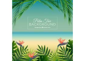 以棕榈叶和花朵为背景的海滩_1103709