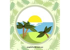 以棕榈树为背景的夏季景观_1112890