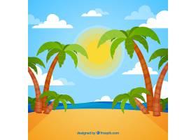 以棕榈树为背景的热带海滩_1101999