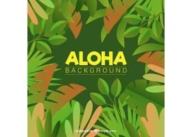 Aloha绿色背景带叶子_1160811