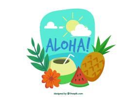 ALOHA背景带异国情调的饮料和水果_1174664