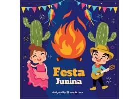 Festa Junina背景与篝火和情侣_2164841