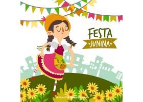Festa Junina背景有女人和鲜花_2143387