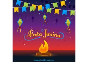 Festa Junina背景篝火和锦旗_2218335