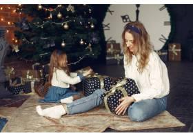 母亲带着可爱的女儿在家中靠近壁炉的地方_11241899