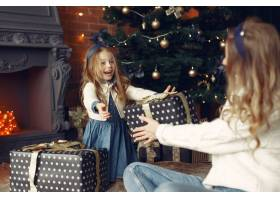 母亲带着可爱的女儿在家中靠近壁炉的地方_11241903