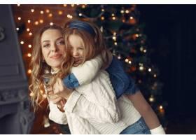 母亲带着可爱的女儿在家中靠近壁炉的地方_11241928