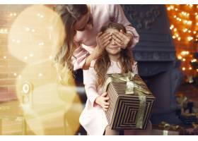 母亲带着可爱的女儿在家中靠近壁炉的地方_11241981