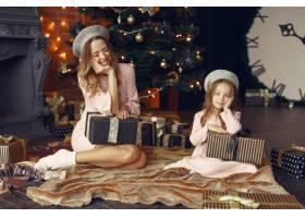 母亲带着可爱的女儿在家中靠近壁炉的地方_11242001