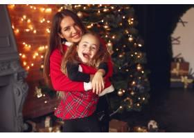 母亲带着可爱的女儿在家中靠近壁炉的地方_11244216