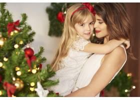 母女俩在圣诞树附近拥抱_11777883