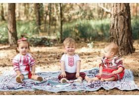 穿着乌克兰传统服装的孩子们在阳光下在森林_3341318