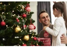 快乐的男人和他的小女儿装饰圣诞树_11776144