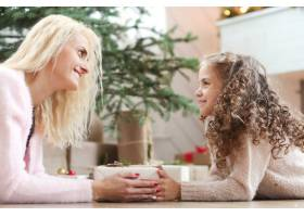 妈妈和女儿在圣诞装饰的客厅里_9389251
