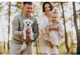 年轻的一家人带着可爱的小女儿在夕阳的森林_10298383