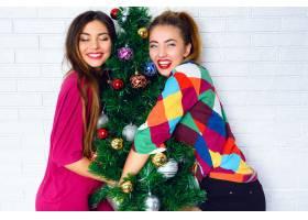 两名年轻女子拥抱圣诞树的肖像_10699145