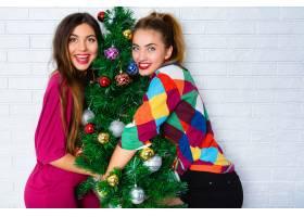 两名年轻女子拥抱圣诞树的肖像_10699150