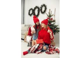 人们在为圣诞节做准备母亲和女儿一起玩耍_11745017