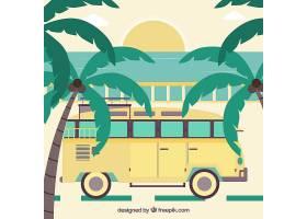 落日背景下的棕榈树和黄色公交车_1108791