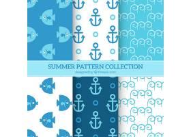 蓝白相间的夏日图案背景_1136666