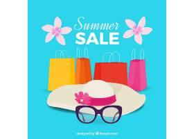 蓝色夏季销售背景_1147563