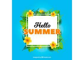 蓝色夏框背景有鲜花和棕榈叶_1193302