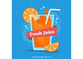 蓝色背景橙汁平面设计_1112427