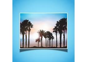 蓝色背景的夏日画卷_895785