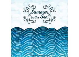 装饰性的夏日背景蓝色调的波浪_1117549