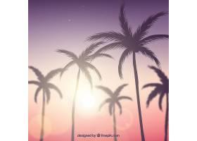 逼真的夏日落日棕榈剪影_2303070