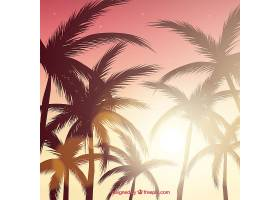 逼真的夏日落日棕榈剪影_2303071