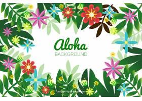 鲜花和树叶的ALOHA背景_1160810