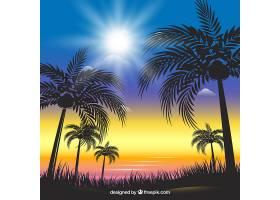 闪亮的夏日背景棕榈树的剪影_2226416