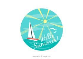 阳光明媚的日子里乘船航行的背景_1128741