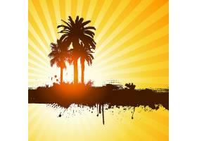 黄色背景上棕榈树的剪影_897850